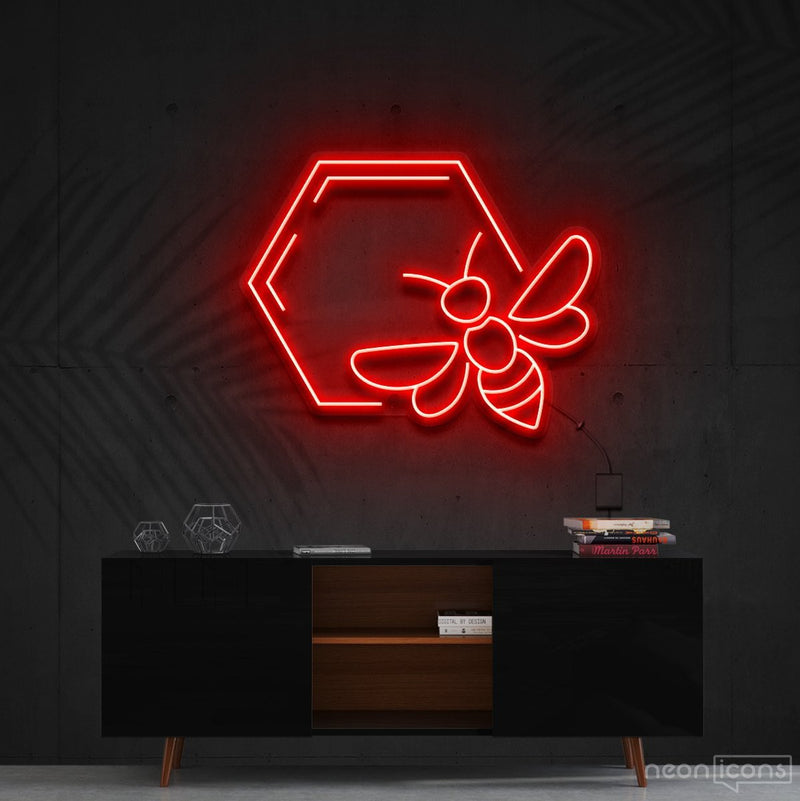 """Honeycomb Bee"" Neon Sign 60cm (2ft) / Red / Cut to Shape by Neon Icons"