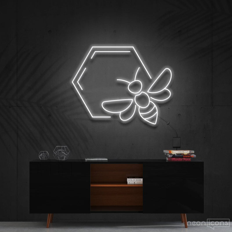 """Honeycomb Bee"" Neon Sign 60cm (2ft) / White / Cut to Shape by Neon Icons"