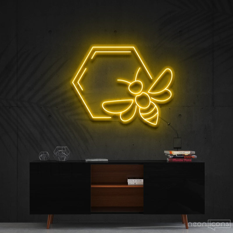 """Honeycomb Bee"" Neon Sign 60cm (2ft) / Yellow / Cut to Shape by Neon Icons"