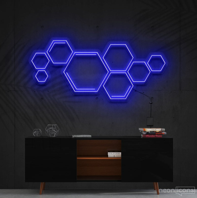 """Honeycomb"" Neon Sign 60cm (2ft) / Blue / Cut to Shape by Neon Icons"