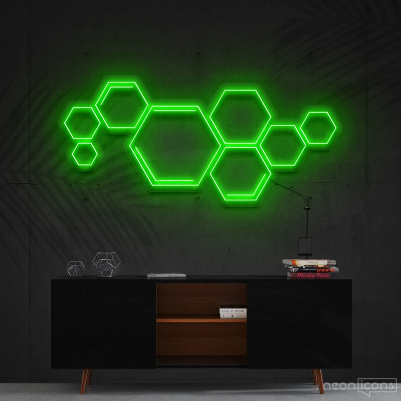 """Honeycomb"" Neon Sign 60cm (2ft) / Green / Cut to Shape by Neon Icons"