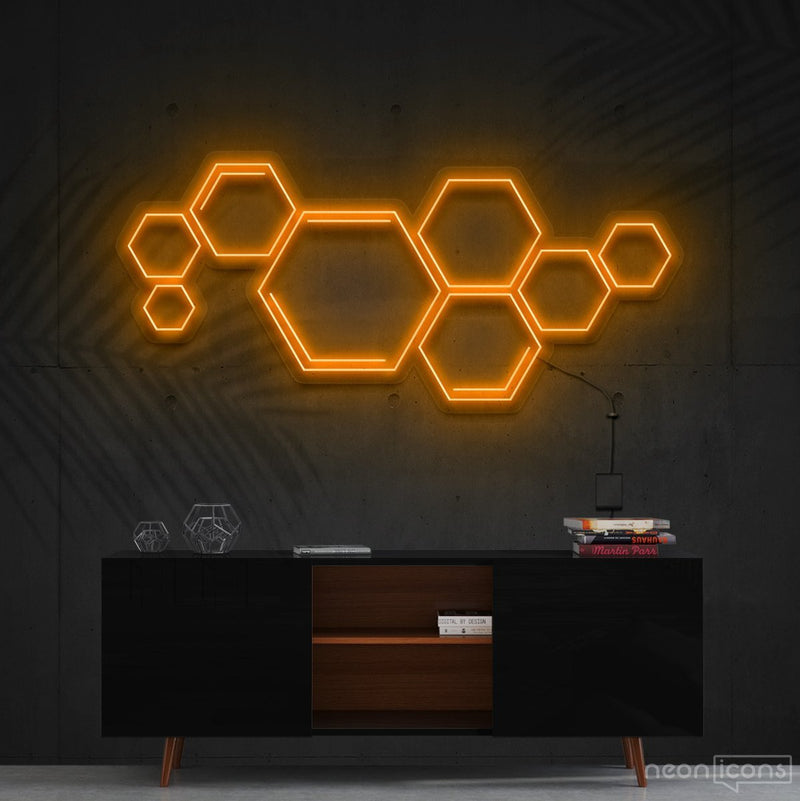 """Honeycomb"" Neon Sign 60cm (2ft) / Orange / Cut to Shape by Neon Icons"