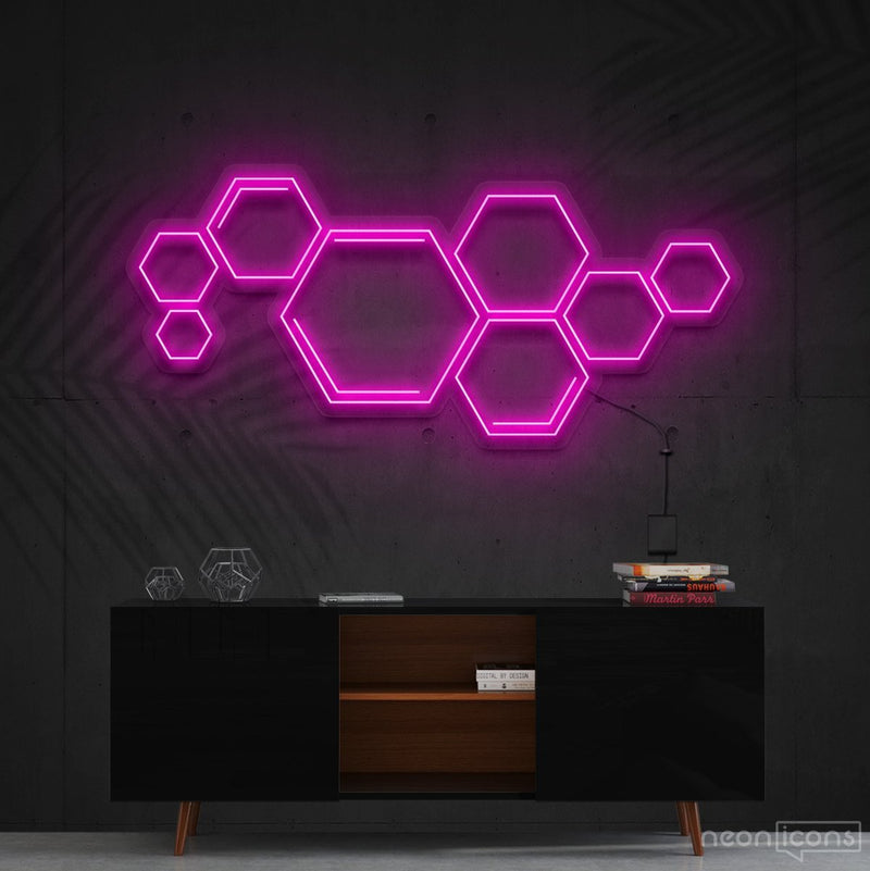 """Honeycomb"" Neon Sign 60cm (2ft) / Pink / Cut to Shape by Neon Icons"
