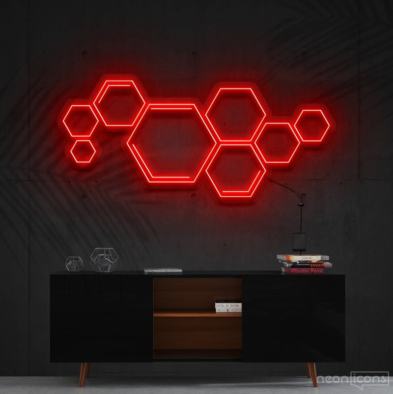 """Honeycomb"" Neon Sign 60cm (2ft) / Red / Cut to Shape by Neon Icons"