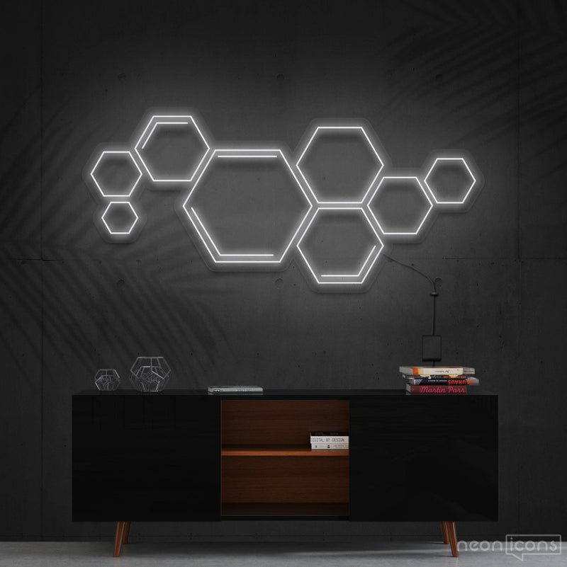 """Honeycomb"" Neon Sign 60cm (2ft) / White / Cut to Shape by Neon Icons"