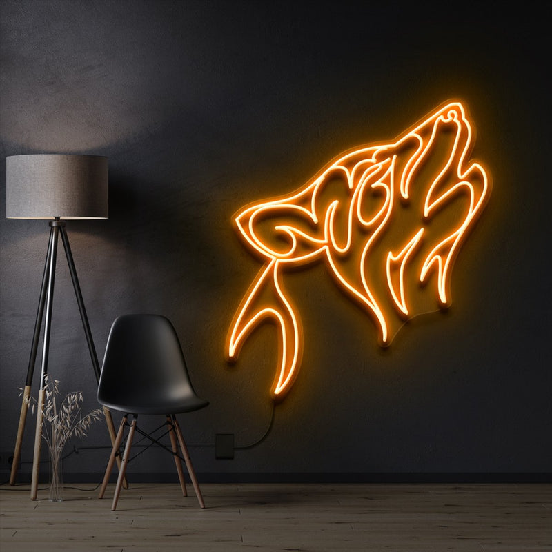 """Husky"" Pet Neon Sign 60cm / Orange / Cut to Shape by Neon Icons"