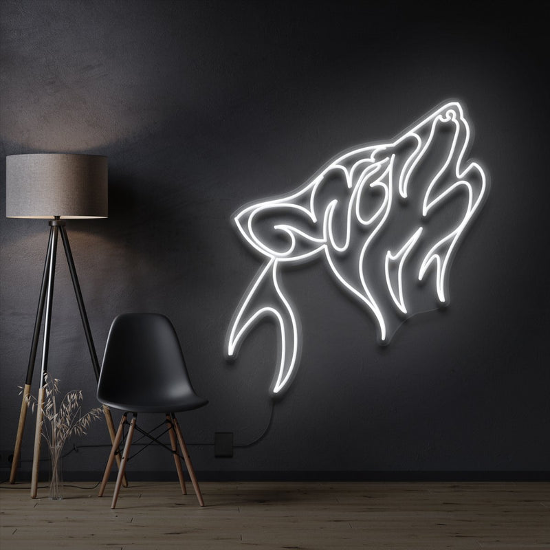 """Husky"" Pet Neon Sign 60cm / White / Cut to Shape by Neon Icons"