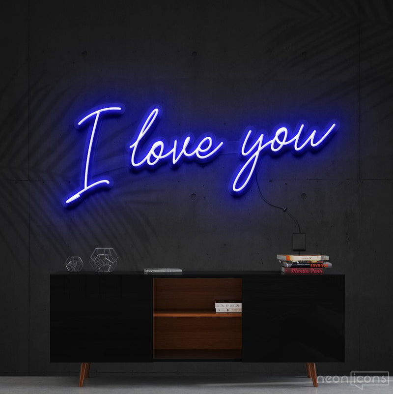 """I Love You"" Neon Sign 60cm (2ft) / Blue / Cut to Shape by Neon Icons"