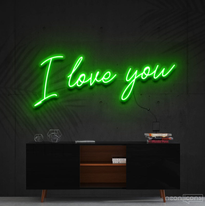 """I Love You"" Neon Sign 60cm (2ft) / Green / Cut to Shape by Neon Icons"