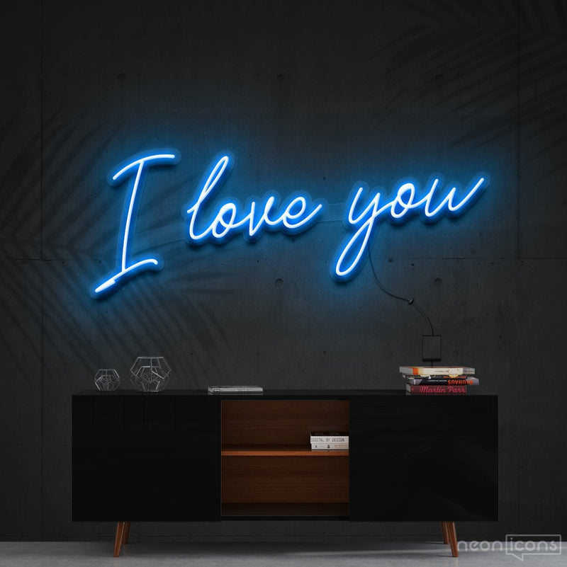 """I Love You"" Neon Sign 60cm (2ft) / Ice Blue / Cut to Shape by Neon Icons"
