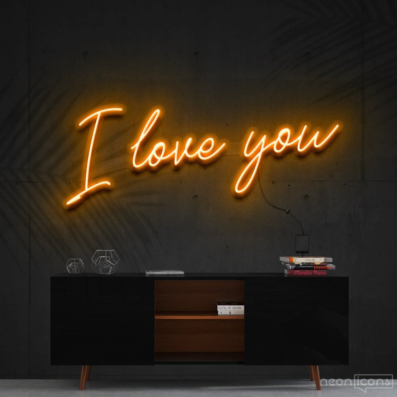 """I Love You"" Neon Sign 60cm (2ft) / Orange / Cut to Shape by Neon Icons"