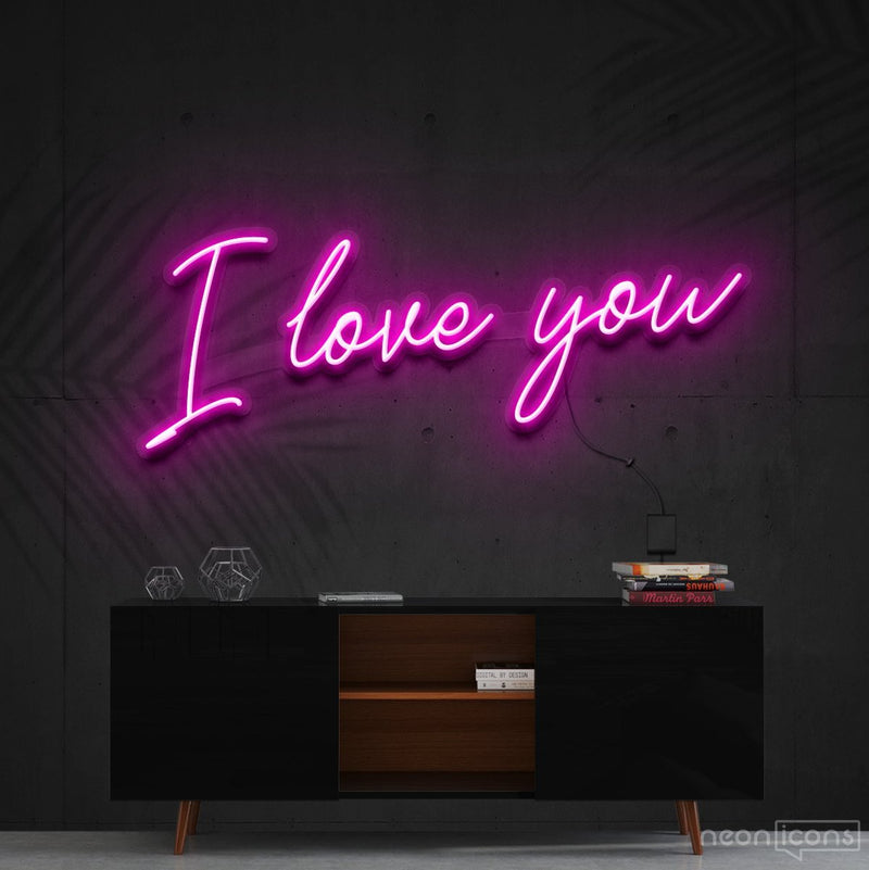 """I Love You"" Neon Sign 60cm (2ft) / Pink / Cut to Shape by Neon Icons"