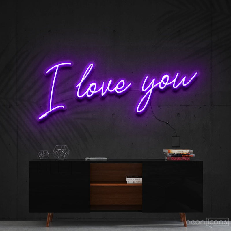"""I Love You"" Neon Sign 60cm (2ft) / Purple / Cut to Shape by Neon Icons"