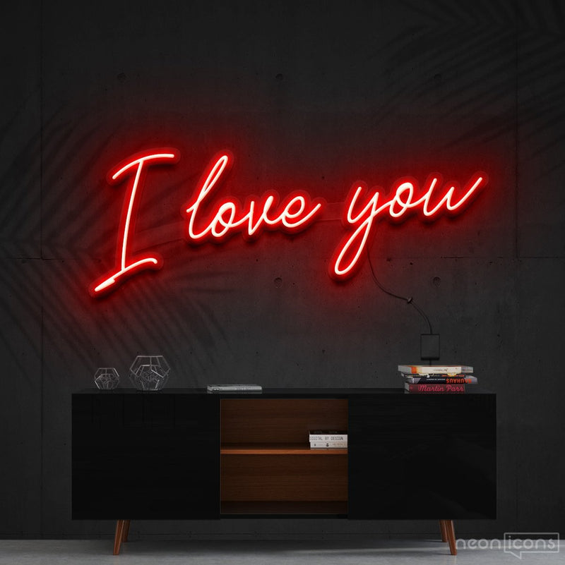 """I Love You"" Neon Sign 60cm (2ft) / Red / Cut to Shape by Neon Icons"