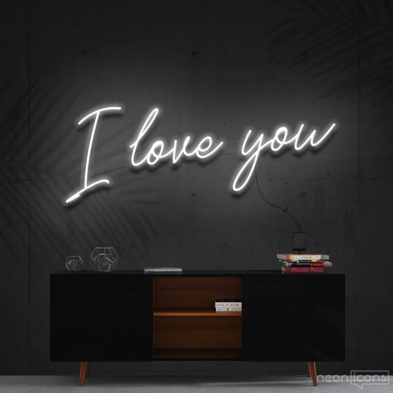 """I Love You"" Neon Sign 60cm (2ft) / White / Cut to Shape by Neon Icons"