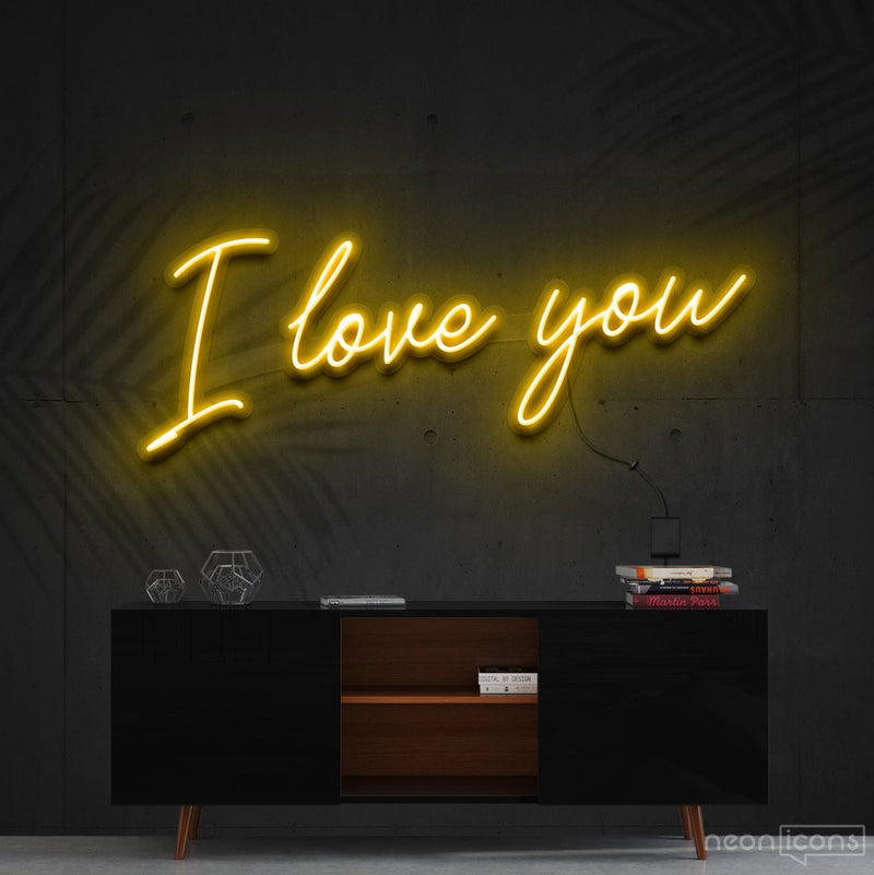 """I Love You"" Neon Sign 60cm (2ft) / Yellow / Cut to Shape by Neon Icons"