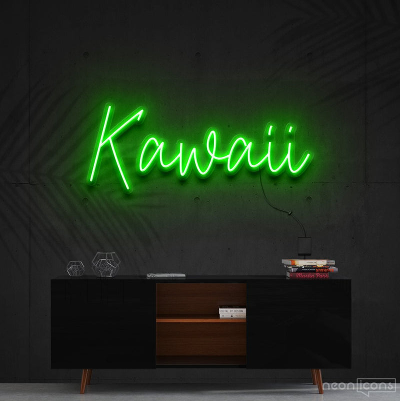 """Kawaii"" Neon Sign 60cm (2ft) / Green / Cut to Shape by Neon Icons"