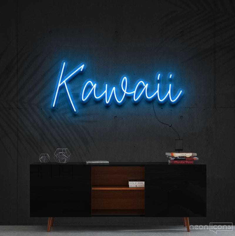 """Kawaii"" Neon Sign 60cm (2ft) / Ice Blue / Cut to Shape by Neon Icons"