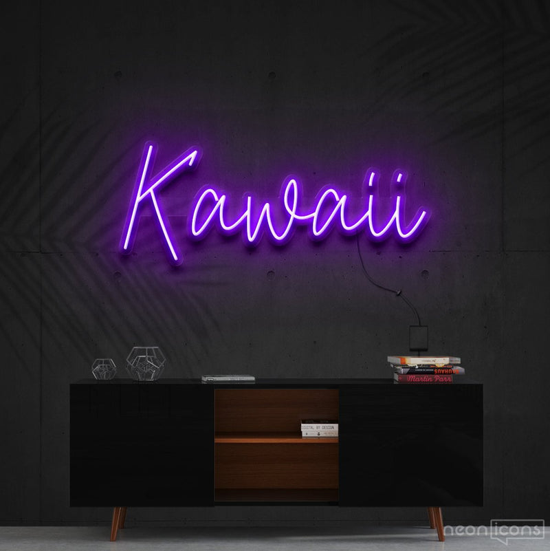 """Kawaii"" Neon Sign 60cm (2ft) / Purple / Cut to Shape by Neon Icons"