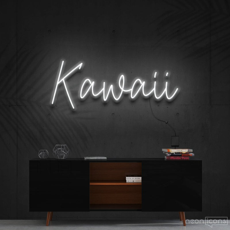 """Kawaii"" Neon Sign 60cm (2ft) / White / Cut to Shape by Neon Icons"