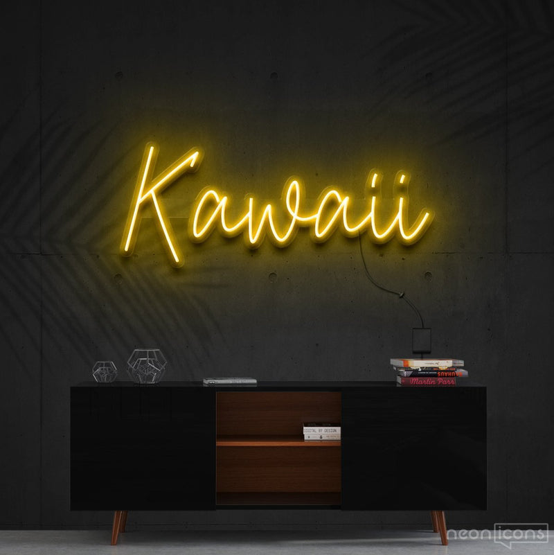 """Kawaii"" Neon Sign 60cm (2ft) / Yellow / Cut to Shape by Neon Icons"