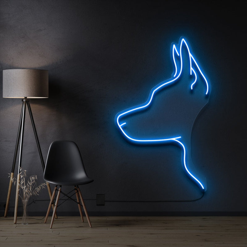 """Kelpie Dog"" Pet Neon Sign 60cm / Ice Blue / Cut to Shape by Neon Icons"