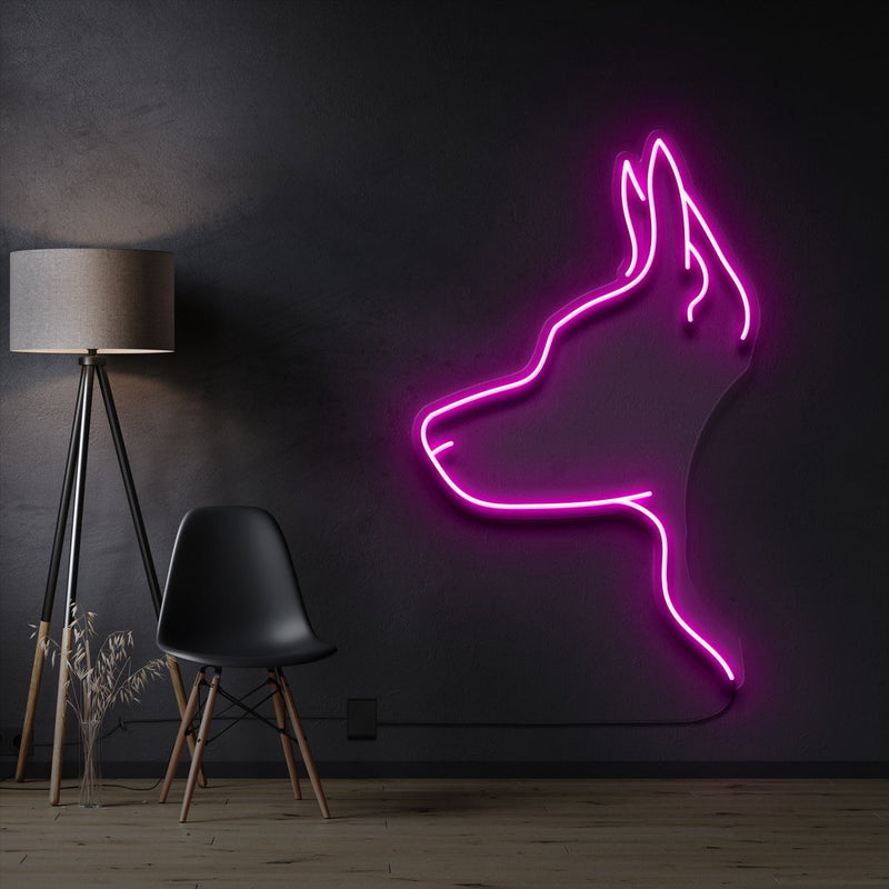 """Kelpie Dog"" Pet Neon Sign 60cm / Pink / Cut to Shape by Neon Icons"
