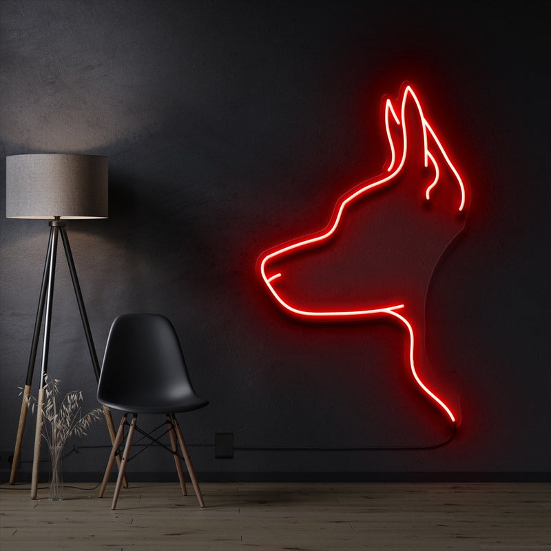 """Kelpie Dog"" Pet Neon Sign 60cm / Red / Cut to Shape by Neon Icons"