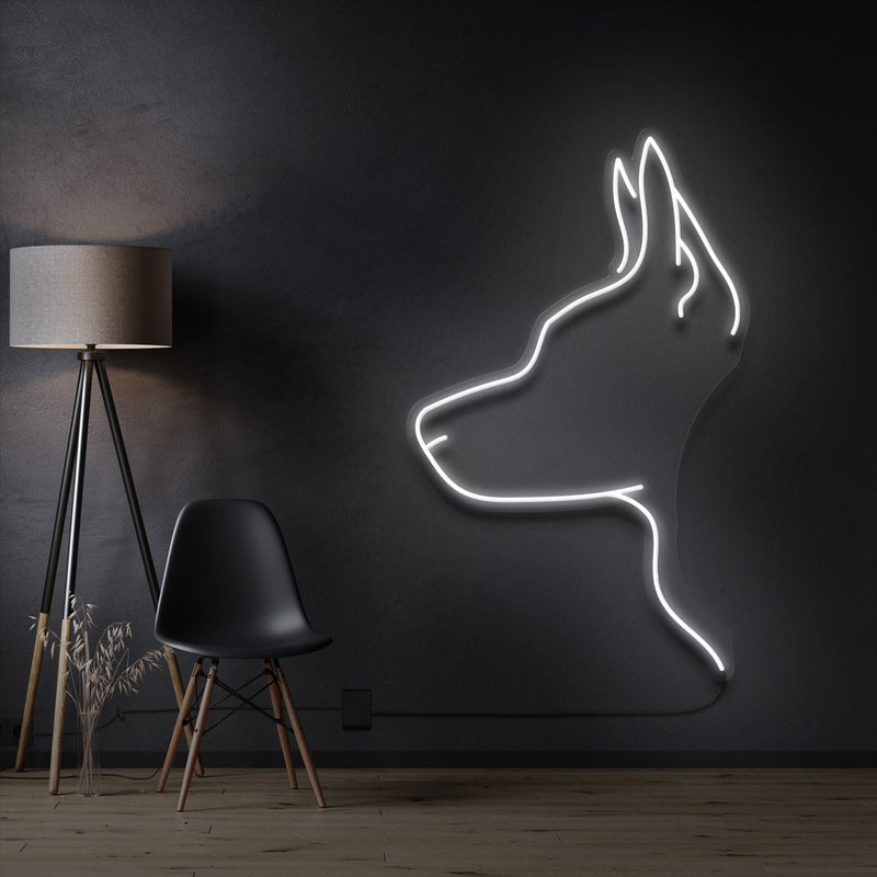 """Kelpie Dog"" Pet Neon Sign 60cm / White / Cut to Shape by Neon Icons"