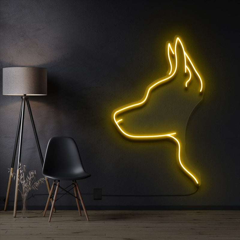 """Kelpie Dog"" Pet Neon Sign 60cm / Yellow / Cut to Shape by Neon Icons"