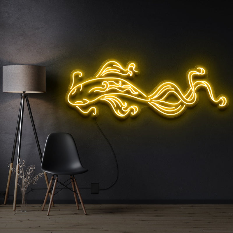 """Koi Fish"" Pet Neon Sign 90cm / Yellow / Cut to Shape by Neon Icons"