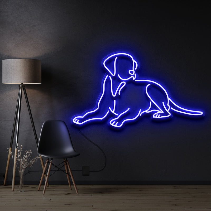 """Labrador retriever"" Pet Neon Sign 60cm / Blue / Cut to Shape by Neon Icons"