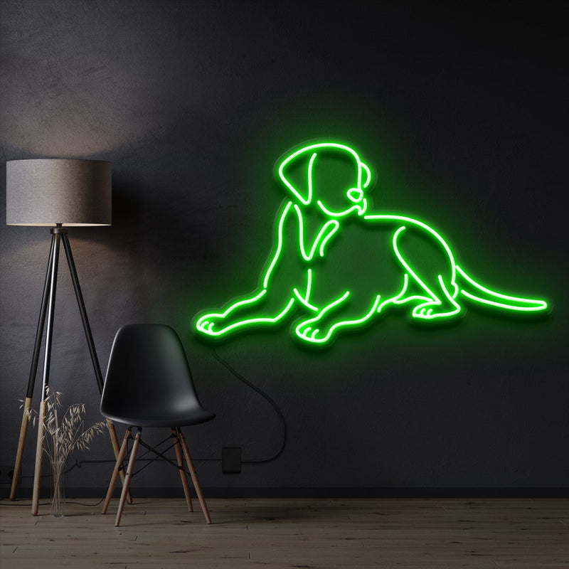 """Labrador retriever"" Pet Neon Sign 60cm / Green / Cut to Shape by Neon Icons"