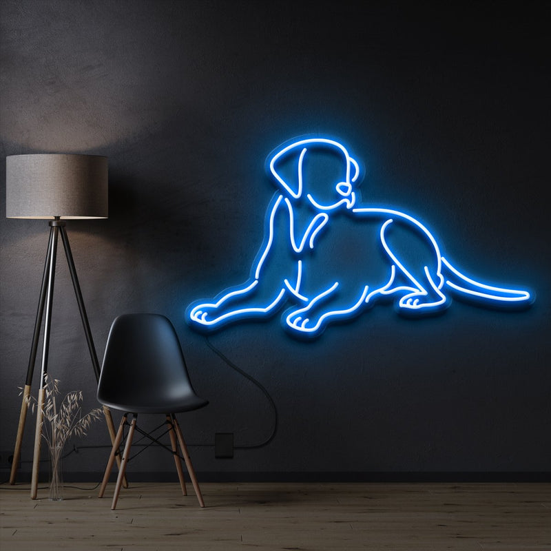 """Labrador retriever"" Pet Neon Sign 60cm / Ice Blue / Cut to Shape by Neon Icons"