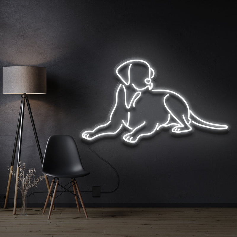 """Labrador retriever"" Pet Neon Sign 60cm / White / Cut to Shape by Neon Icons"