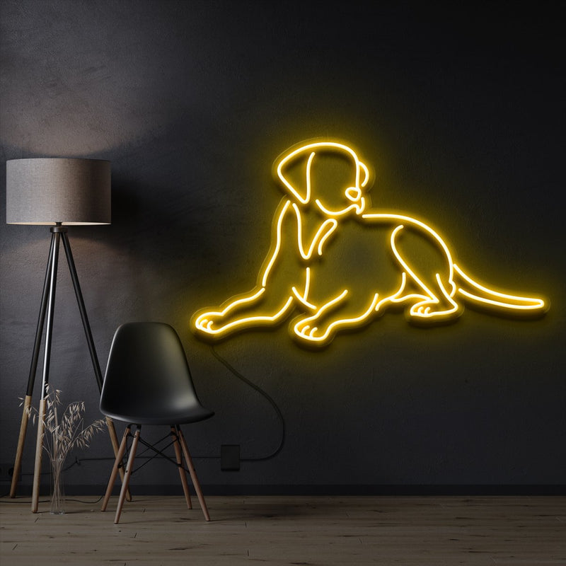 """Labrador retriever"" Pet Neon Sign 60cm / Yellow / Cut to Shape by Neon Icons"