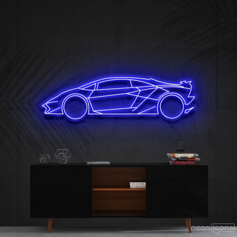 """Lamborghini Aventador SV"" Neon Sign 90cm (3ft) / Blue / Cut to Shape by Neon Icons"