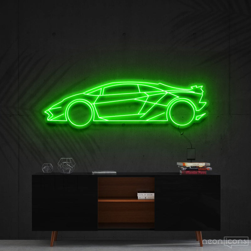 """Lamborghini Aventador SV"" Neon Sign 90cm (3ft) / Green / Cut to Shape by Neon Icons"