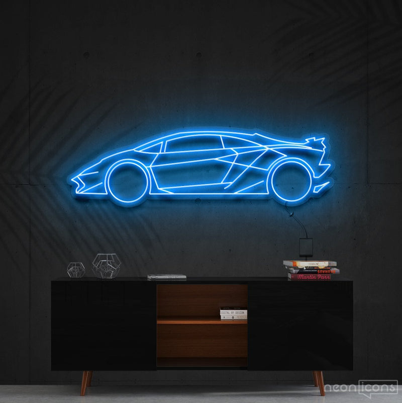 """Lamborghini Aventador SV"" Neon Sign 90cm (3ft) / Ice Blue / Cut to Shape by Neon Icons"