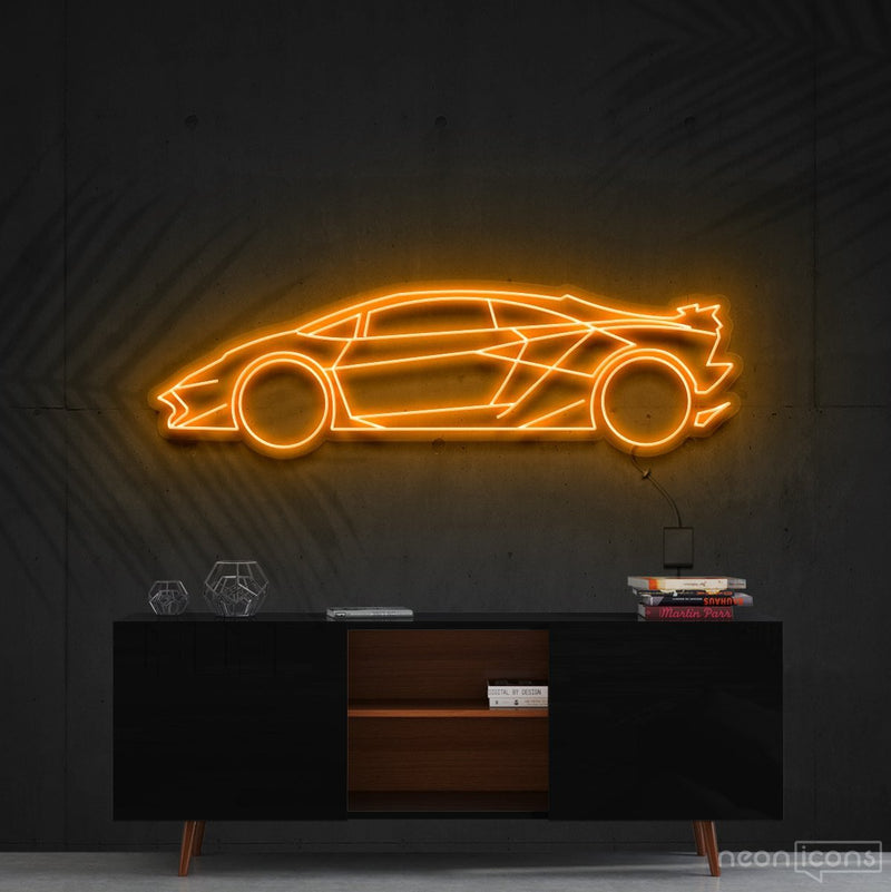 """Lamborghini Aventador SV"" Neon Sign 90cm (3ft) / Orange / Cut to Shape by Neon Icons"