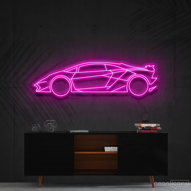 """Lamborghini Aventador SV"" Neon Sign 90cm (3ft) / Pink / Cut to Shape by Neon Icons"