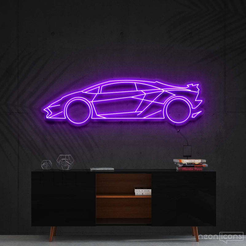 """Lamborghini Aventador SV"" Neon Sign 90cm (3ft) / Purple / Cut to Shape by Neon Icons"