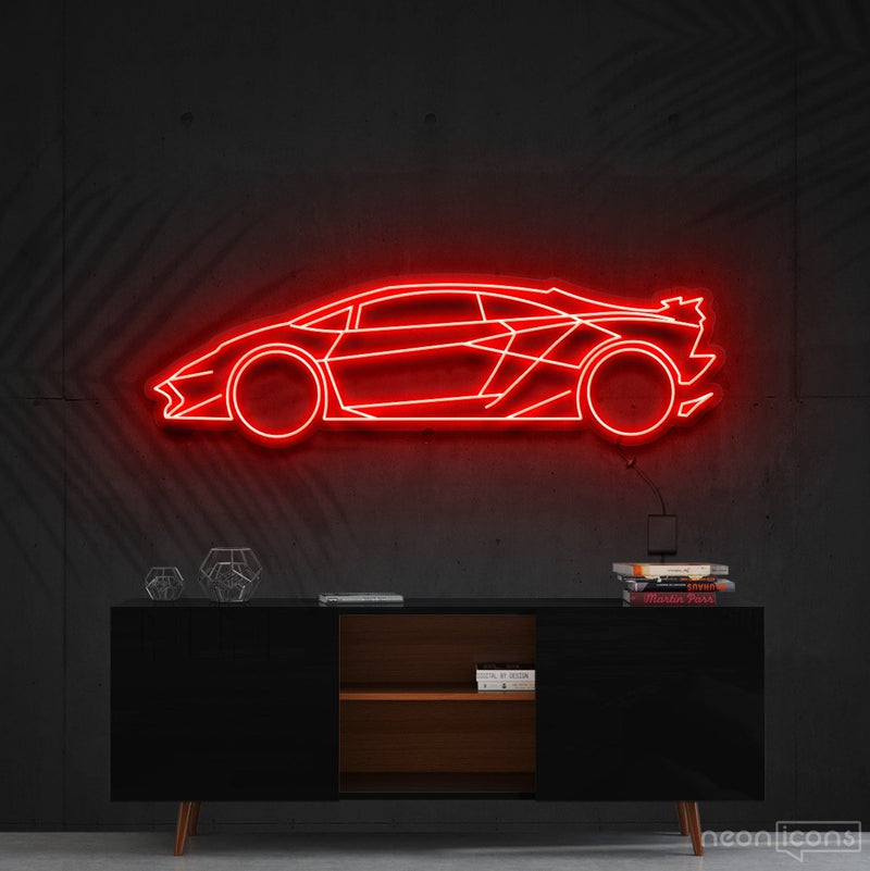 """Lamborghini Aventador SV"" Neon Sign 90cm (3ft) / Red / Cut to Shape by Neon Icons"
