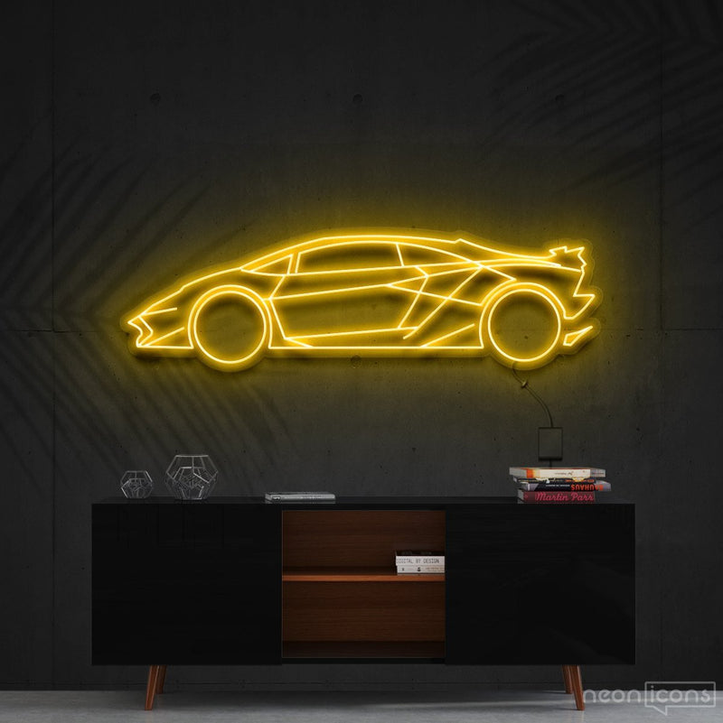 """Lamborghini Aventador SV"" Neon Sign 90cm (3ft) / Yellow / Cut to Shape by Neon Icons"