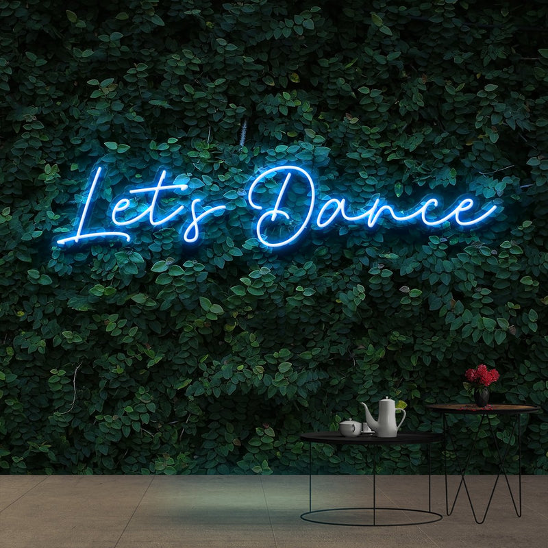 """Let's Dance"" Neon Sign 60cm (2ft) / Ice Blue / Cut to Shape by Neon Icons"