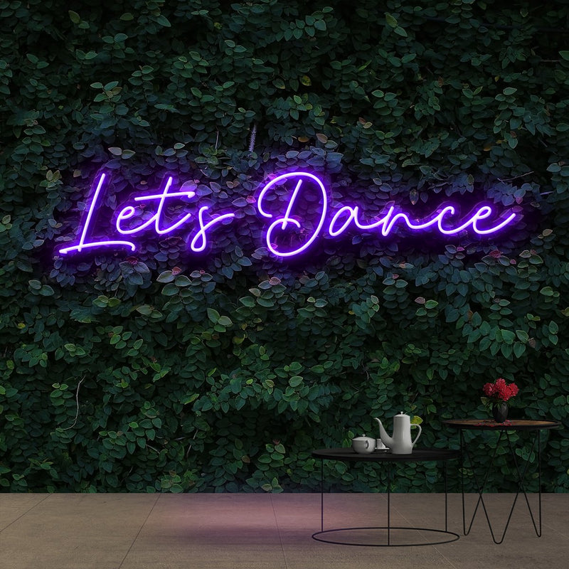 """Let's Dance"" Neon Sign 60cm (2ft) / Purple / Cut to Shape by Neon Icons"