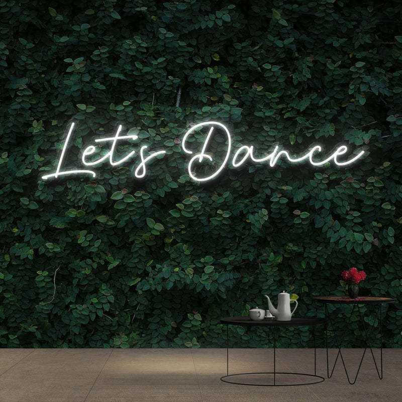 """Let's Dance"" Neon Sign 60cm (2ft) / White / Cut to Shape by Neon Icons"