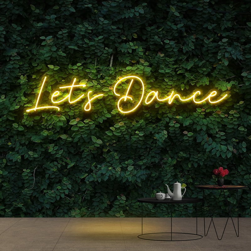 """Let's Dance"" Neon Sign 60cm (2ft) / Yellow / Cut to Shape by Neon Icons"