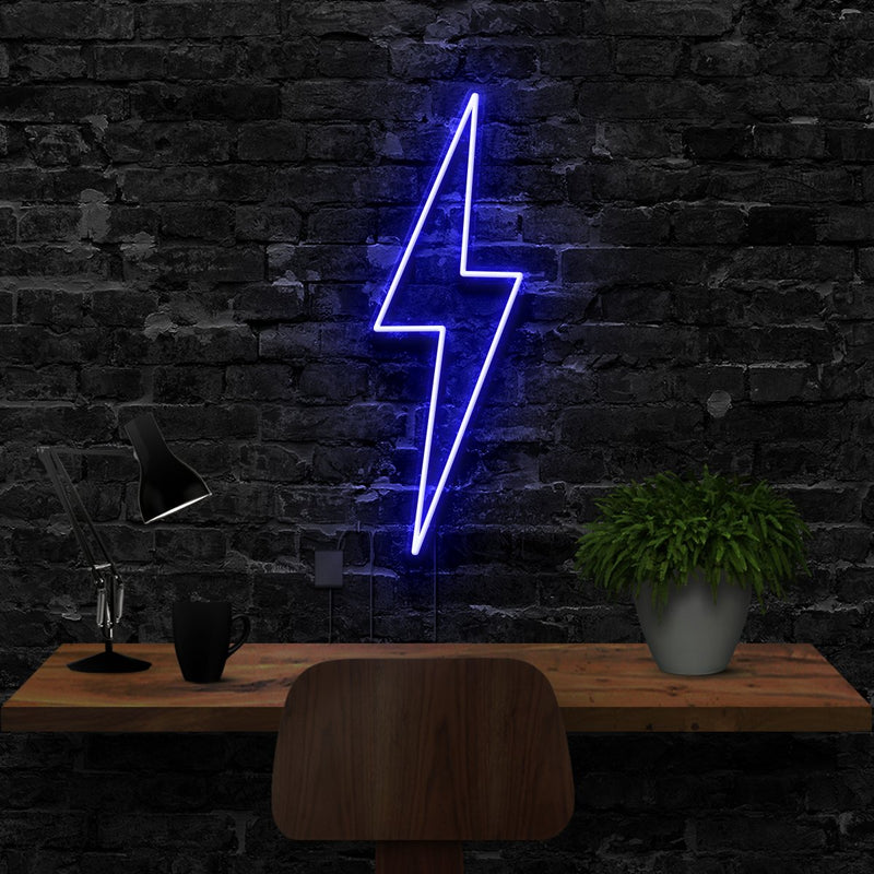 """Lightning Bolt"" Neon Sign 40cm (1.3ft) / Blue / LED Neon by Neon Icons"