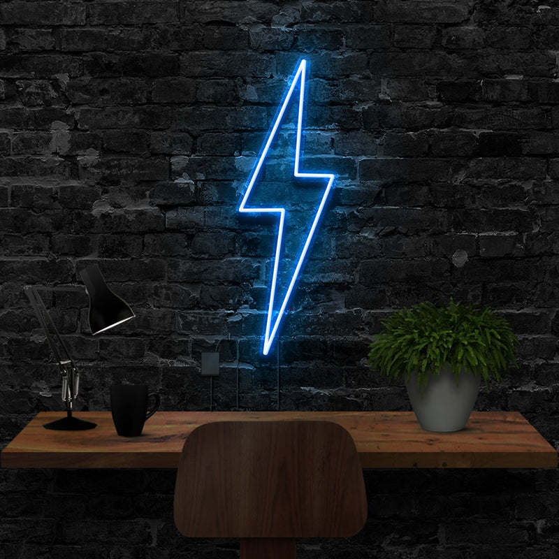 """Lightning Bolt"" Neon Sign 40cm (1.3ft) / Ice Blue / LED Neon by Neon Icons"